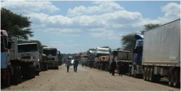 line of trucks