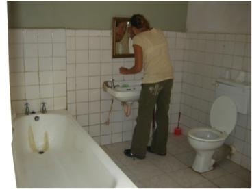 maya in bathroom